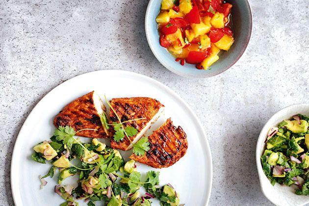Cajun Chicken with Detox Salad and Mango Salsa